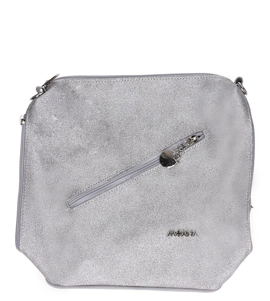 Srebrna torebka listonoszka z kieszonką z przodu Casu M-2