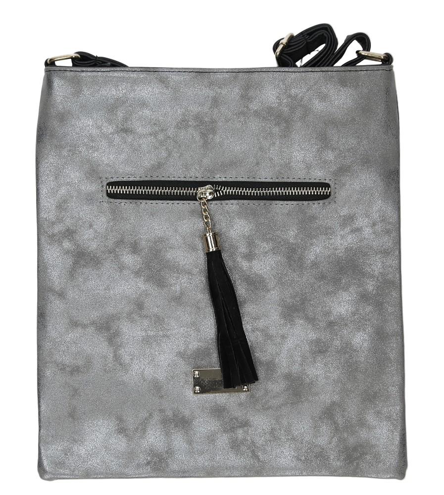 Srebrna torebka listonoszka z ozdobnym suwakiem Casu XB-709