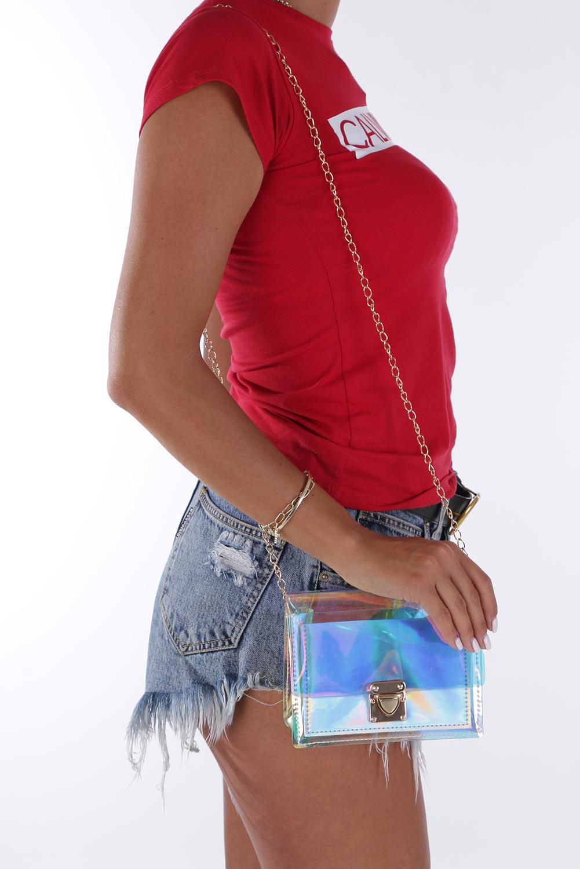 Srebrna torebka mała holograficzna na łańcuszku Casu 300001