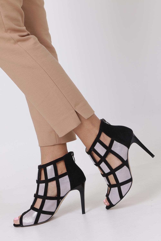 Srebrne botki sandały skórzane peep toe zabudowane Casu DS-271