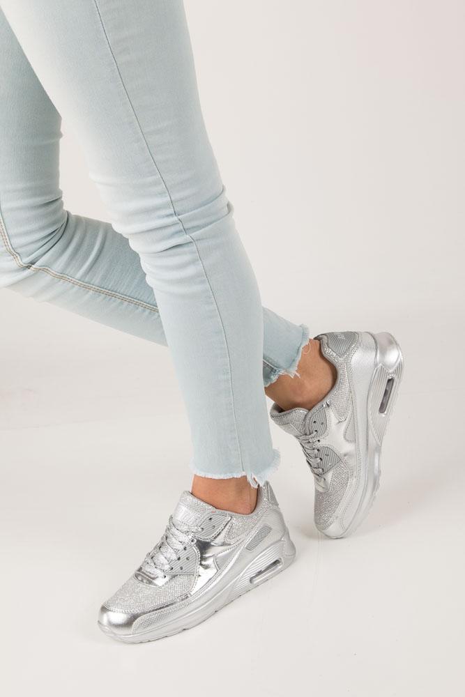 Srebrne buty sportowe błyszczące sznurowane Casu DN7 19