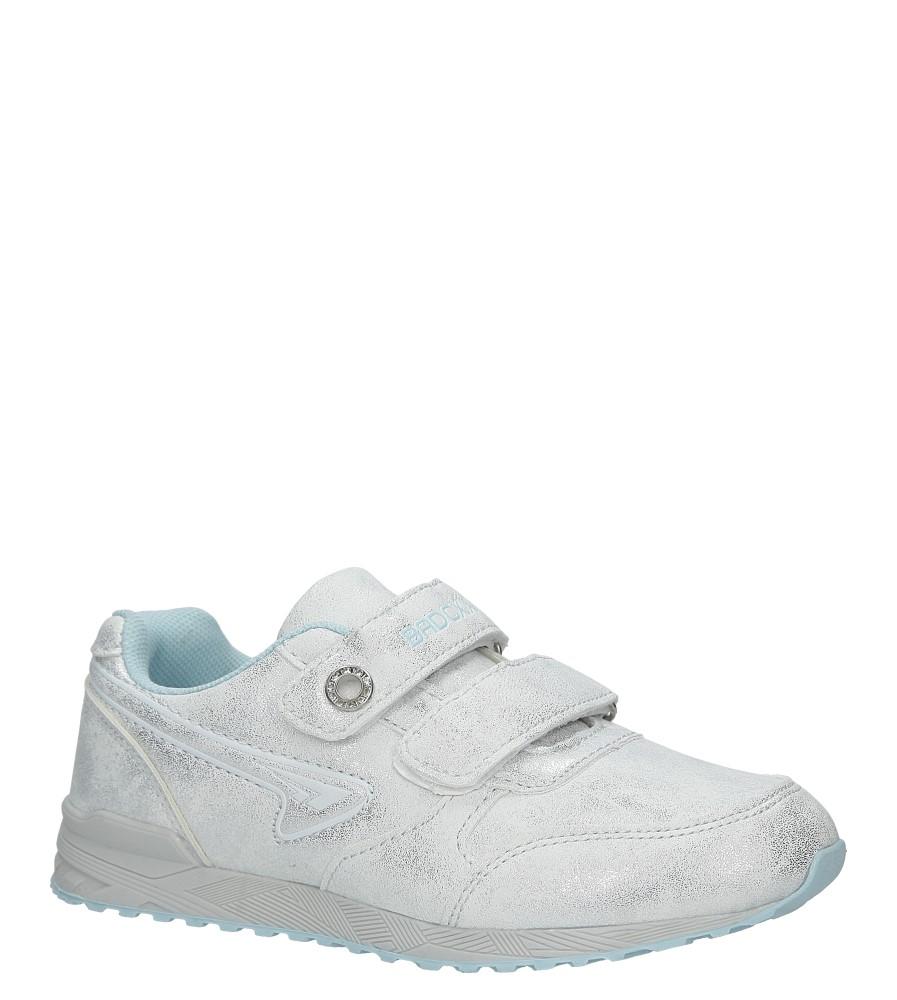 Srebrne buty sportowe brokatowe na rzepy Casu 5XC7535