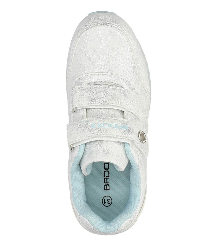 Srebrne buty sportowe brokatowe na rzepy Casu 5XC7535 wysokosc_platformy 1 cm