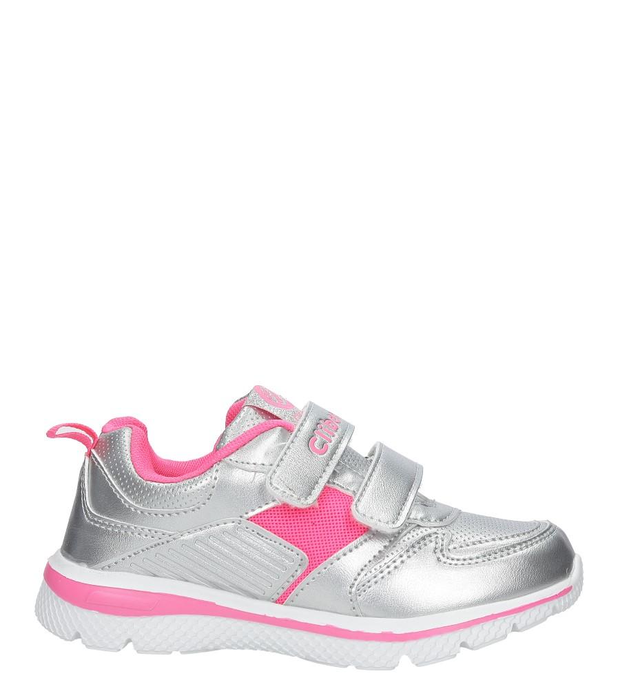 Srebrne buty sportowe na rzepy ze skórzaną wkładką Casu K-219
