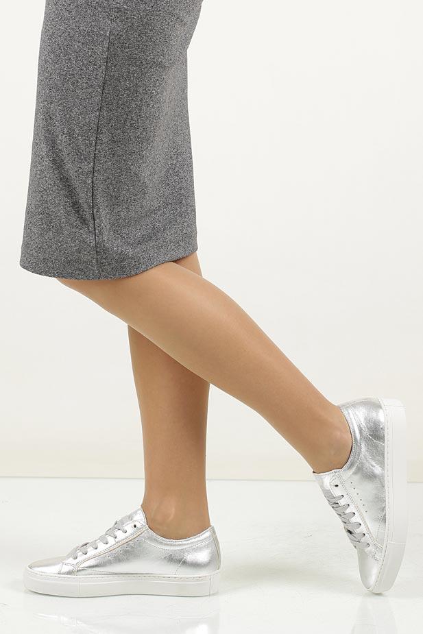 Srebrne buty sportowe skórzane sznurowane Creator S-1872A