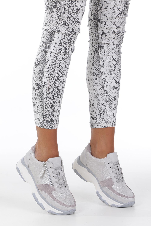 Srebrne buty sportowe sneakersy sznurowane z ozdobnym suwakiem Casu S019-8A-3 producent Casu