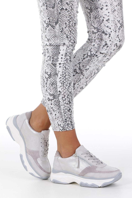 Srebrne buty sportowe sneakersy sznurowane z ozdobnym suwakiem Casu S019-8A-3 sezon Całoroczny