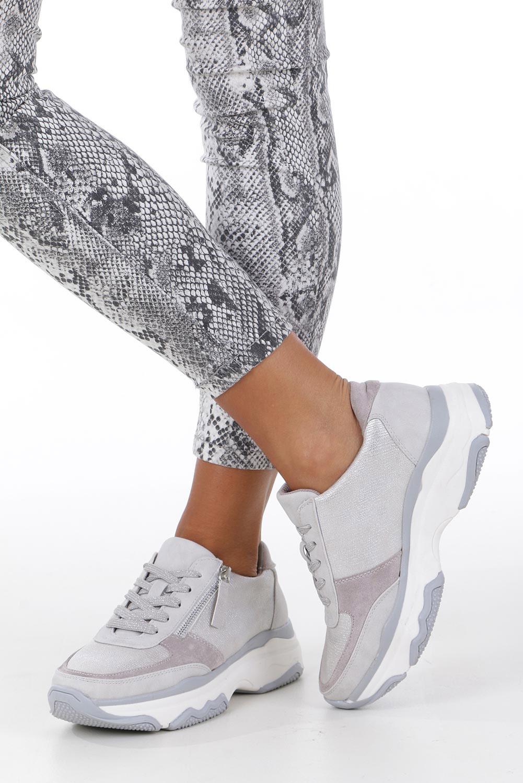 Srebrne buty sportowe sneakersy sznurowane z ozdobnym suwakiem Casu S019-8A-3 kolor srebrny