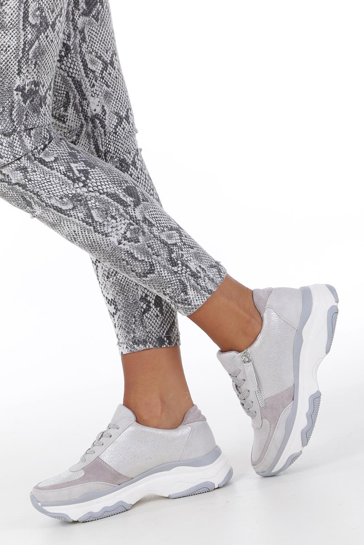 Srebrne buty sportowe sneakersy sznurowane z ozdobnym suwakiem Casu S019-8A-3 wysokosc_obcasa 4.5 cm