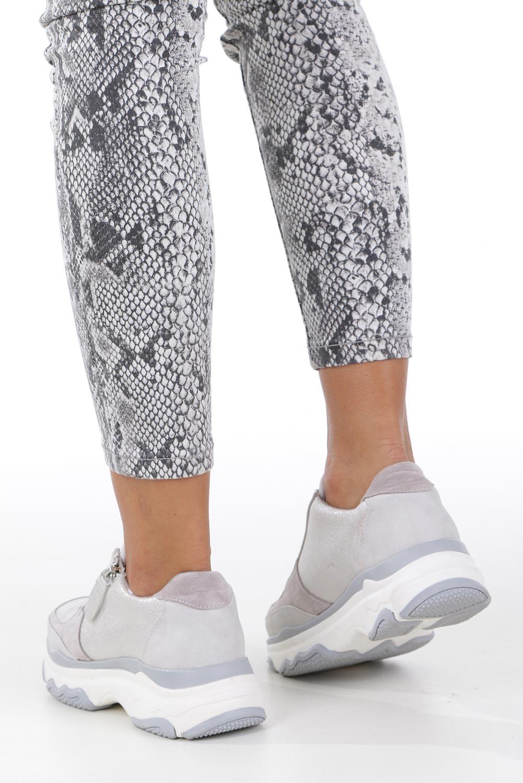 Srebrne buty sportowe sneakersy sznurowane z ozdobnym suwakiem Casu S019-8A-3 wysokosc_platformy 2 cm