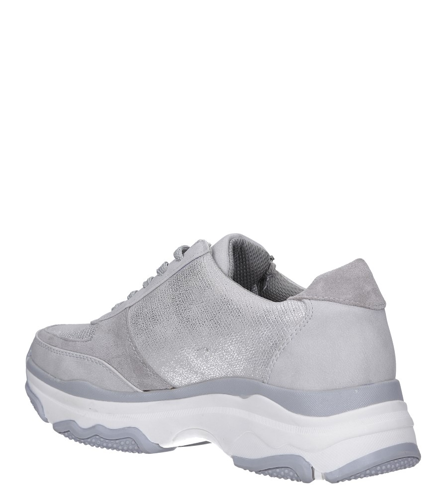 Srebrne buty sportowe sneakersy sznurowane z ozdobnym suwakiem Casu S019-8A-3 wierzch materiał/skóra ekologiczna