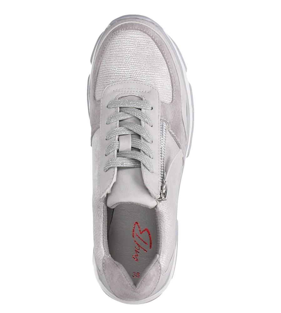 Srebrne buty sportowe sneakersy sznurowane z ozdobnym suwakiem Casu S019-8A-3 wnetrze materiał