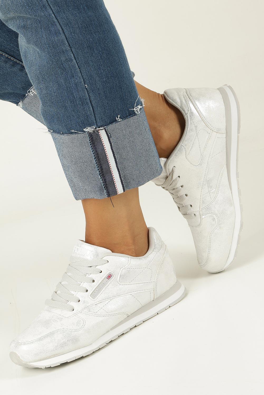 Srebrne buty sportowe sznurowane Casu LXC7236