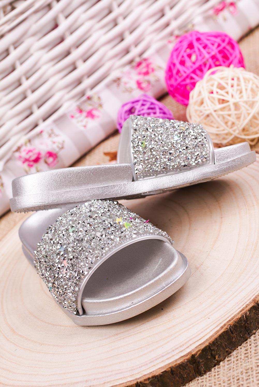 Srebrne klapki brokatowe Casu 316 srebrny