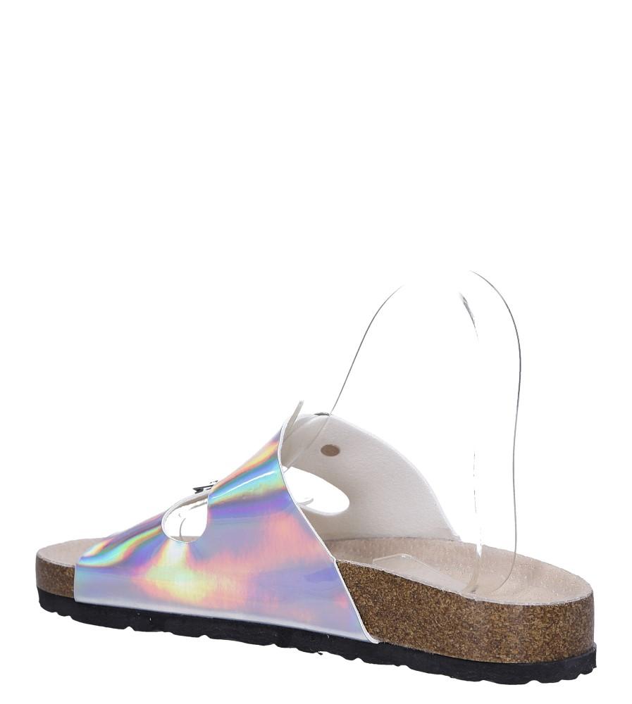 Srebrne klapki holograficzne z dwoma paskami ze skórzaną wkładką i profilowaną korkową podeszwą Casu B18X2/SH wys_calkowita_buta 10.5 cm
