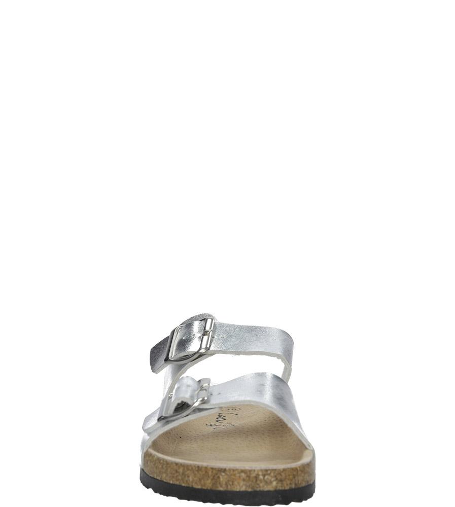 Srebrne klapki z dwoma paskami ze skórzaną wkładką i profilowaną korkową podeszwą Casu B18X2/S kolor srebrny