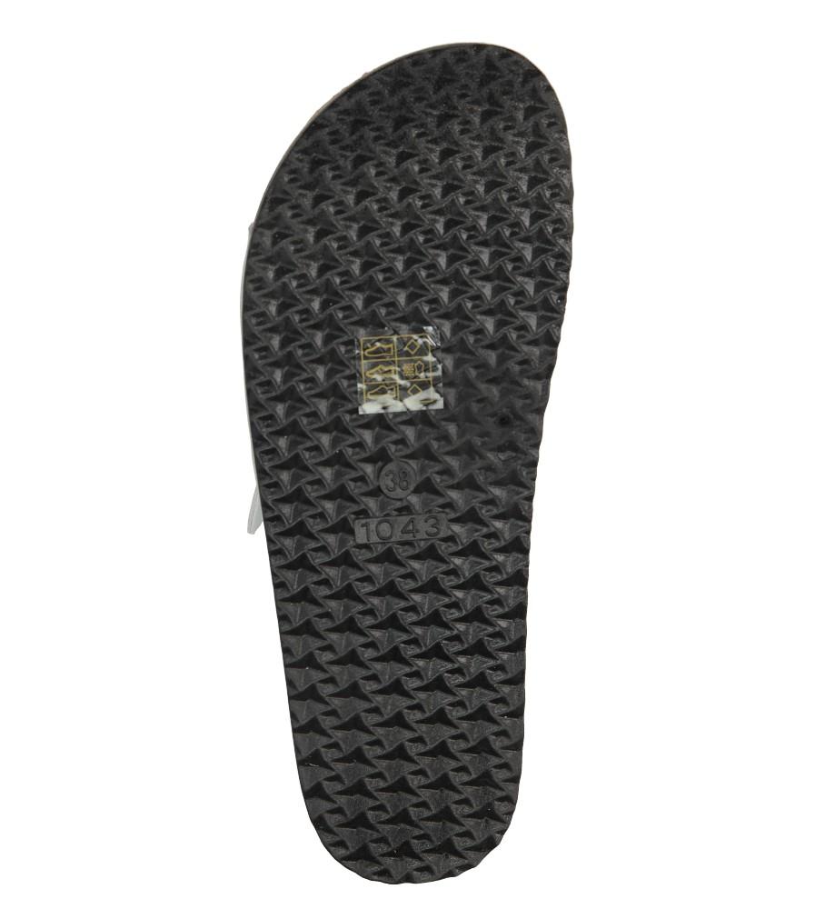 Srebrne klapki z dwoma paskami ze skórzaną wkładką i profilowaną korkową podeszwą Casu B18X2/S wys_calkowita_buta 10.5 cm