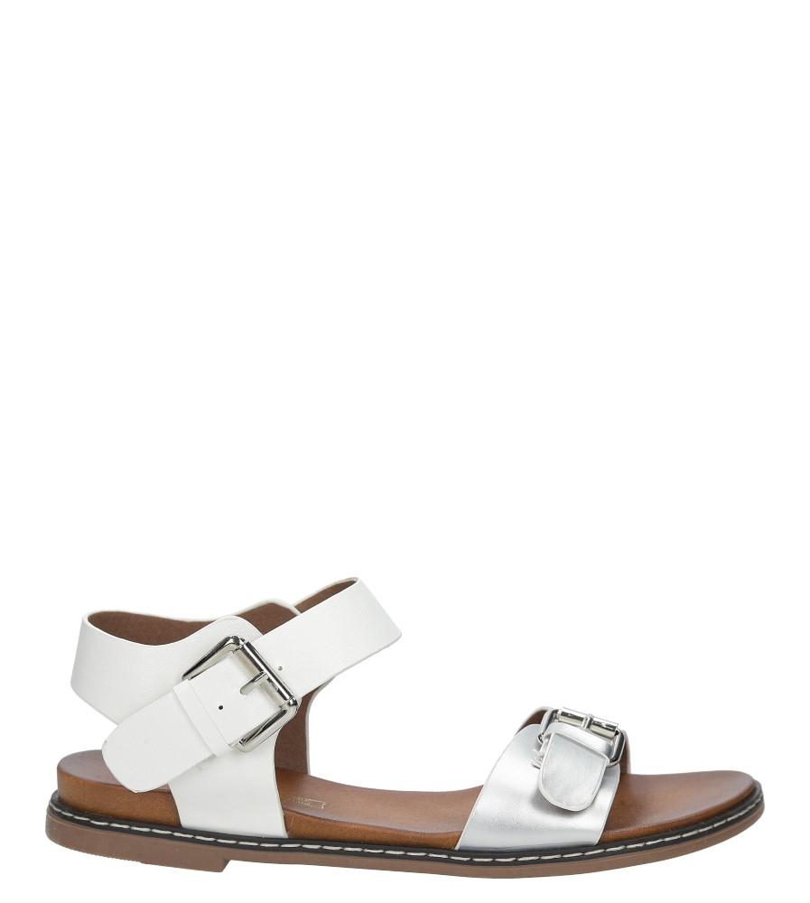 fb5beb02 ... Srebrne modne sandały ze srebrnymi klamrami Casu K18X12/S sezon Lato ...