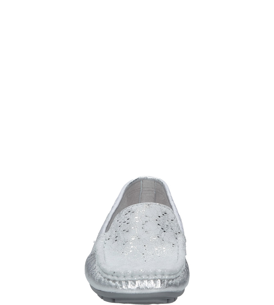 Srebrne mokasyny skórzane Nessi 62606 kolor srebrny