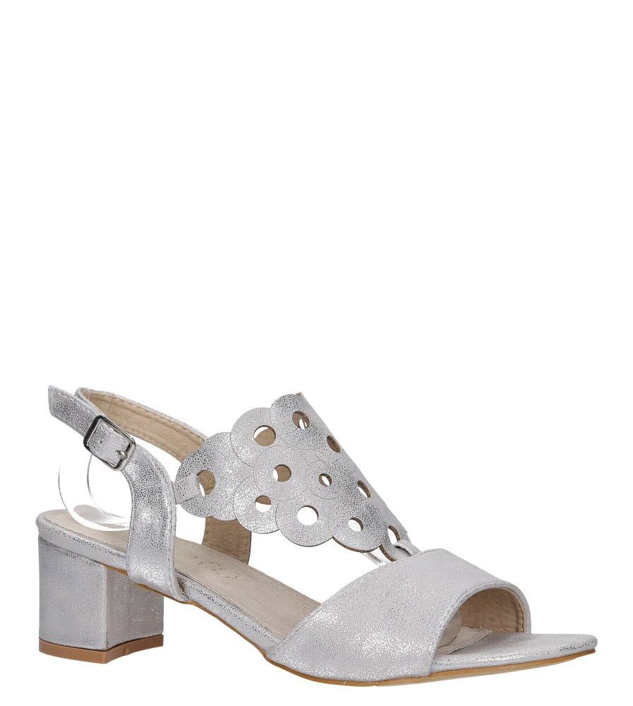 Srebrne sandały ażurowe błyszczące na niskim obcasie ze skórzaną wkładką Casu K19X3/S