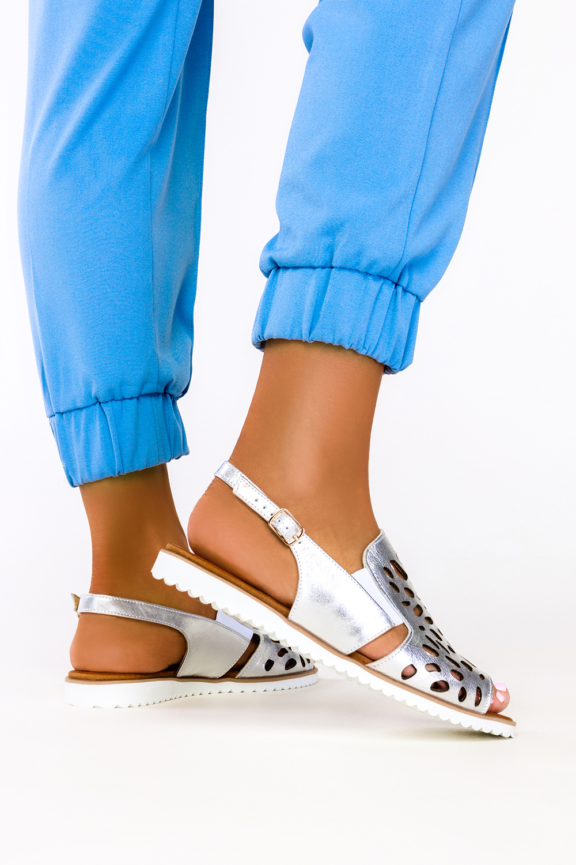 Srebrne sandały ażurowe płaskie polska skóra Casu 3021-0