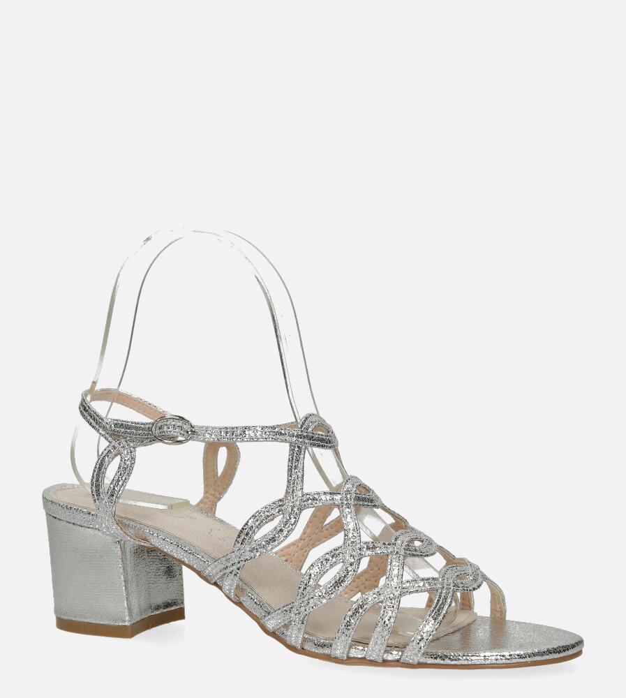 Srebrne sandały błyszczące ażurowe na słupku ze skórzaną wkładką Casu D20X11/S srebrny