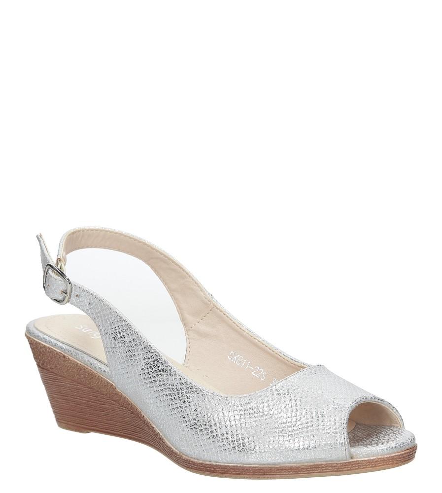 Srebrne sandały błyszczące na koturnie Sergio Leone SK811-22S
