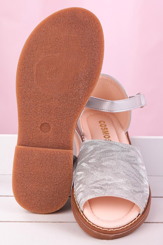 Srebrne sandały błyszczące na rzep z zakrytą piętą Casu YJ222C srebrny