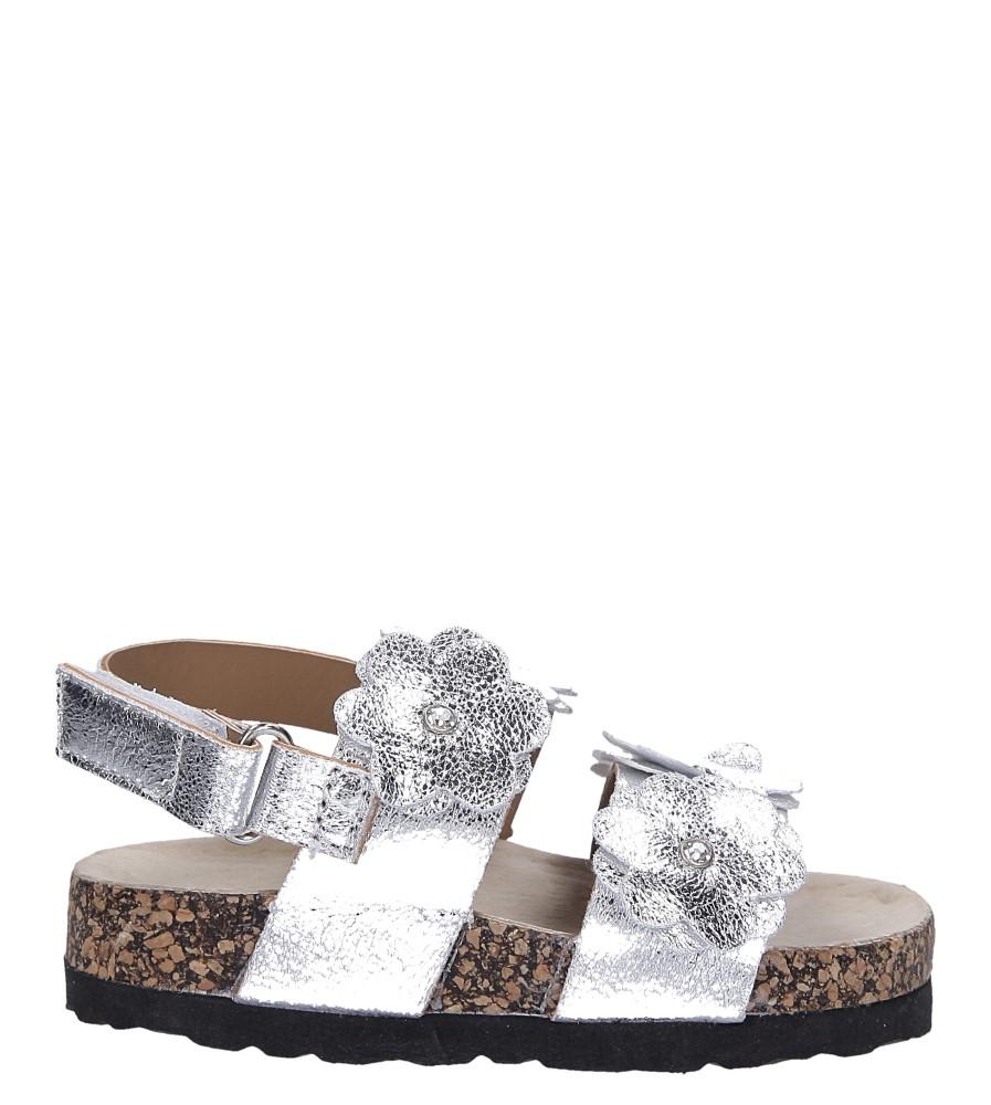 Srebrne sandały błyszczące z kwiatkami ze skórzaną wkładką i profilowaną korkową podeszwą zapinane na rzep Casu B19KDX3/S