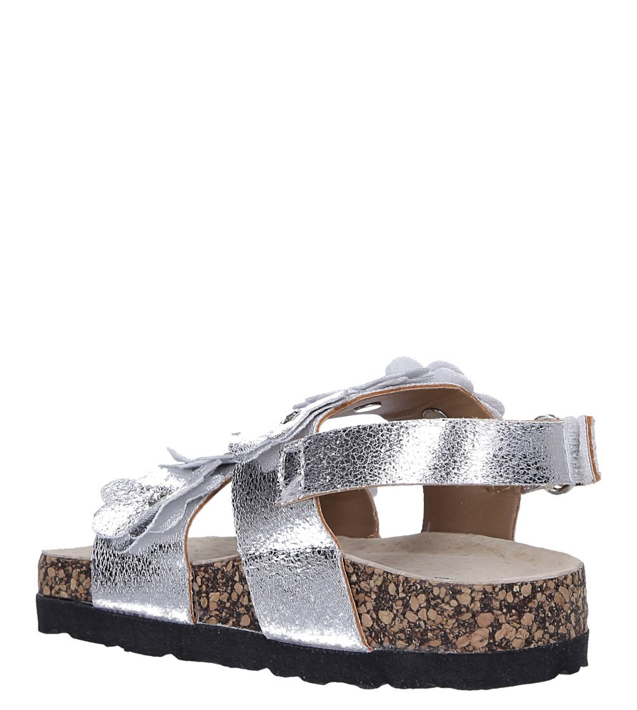 Srebrne sandały błyszczące z kwiatkami ze skórzaną wkładką i profilowaną korkową podeszwą zapinane na rzep Casu B19KDX3/S sezon Lato