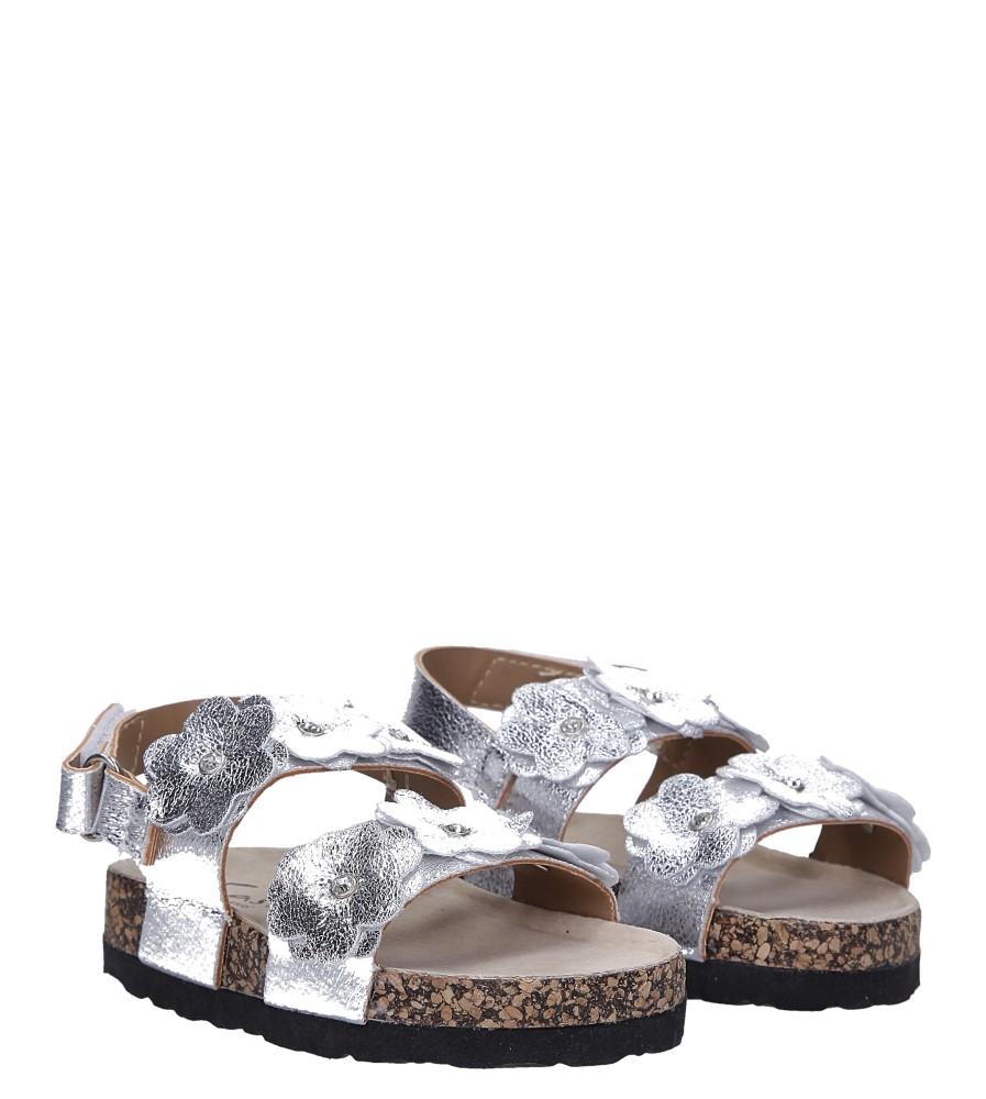 Srebrne sandały błyszczące z kwiatkami ze skórzaną wkładką i profilowaną korkową podeszwą zapinane na rzep Casu B19KDX3/S kolor srebrny