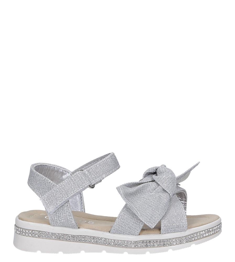 Srebrne sandały brokatowe z kokardką na rzep Casu Y216