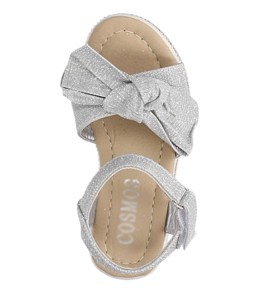 Srebrne sandały brokatowe z kokardką na rzep Casu Y216 kolor srebrny