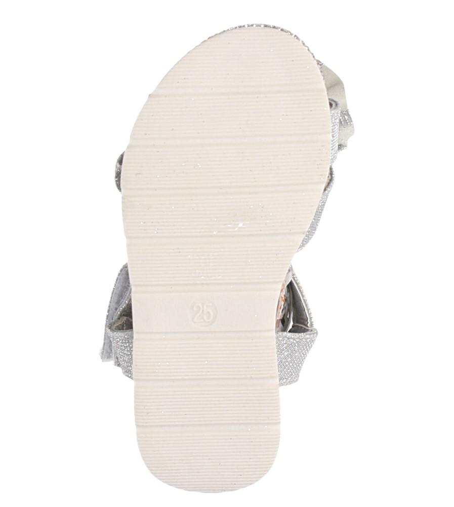 Srebrne sandały brokatowe z kokardką na rzep Casu Y216 wysokosc_platformy 1.5 cm