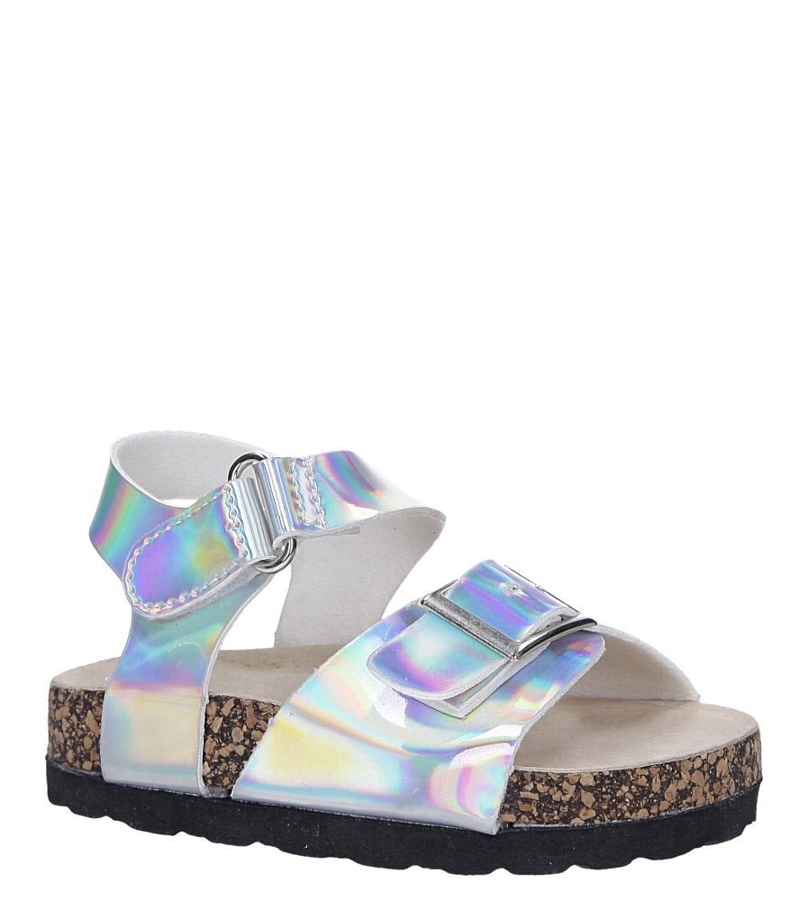 Srebrne sandały holograficzne na rzep ze skórzaną wkładką i profilowaną korkową podeszwą Casu B19KDX2/S