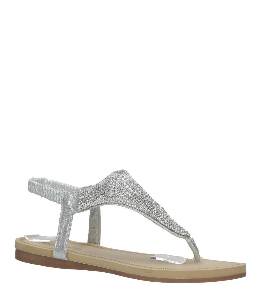 Srebrne sandały japonki płaskie z kryształkami Casu S10