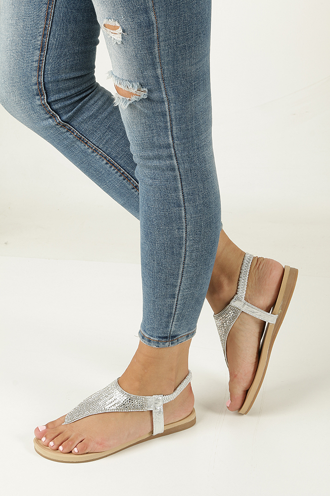 Srebrne sandały japonki płaskie z kryształkami Casu S10 model S10