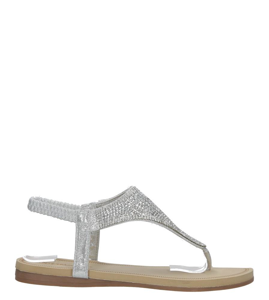 Srebrne sandały japonki płaskie z kryształkami Casu S10 sezon Lato