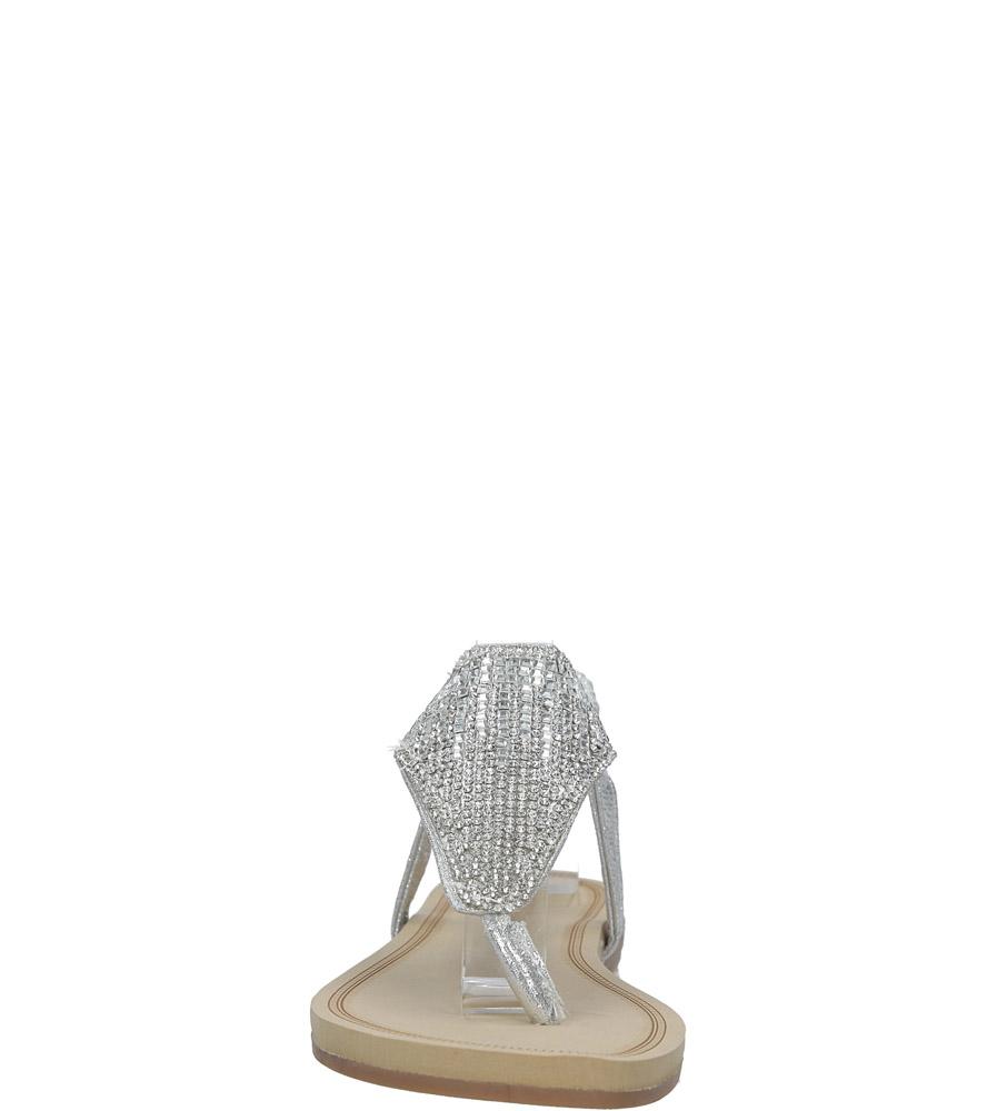 Srebrne sandały japonki płaskie z kryształkami Casu S10 kolor srebrny