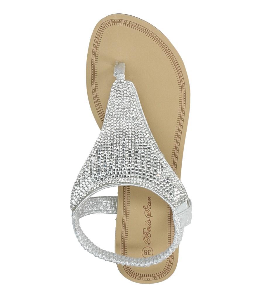 Srebrne sandały japonki płaskie z kryształkami Casu S10 wysokosc_platformy 1 cm