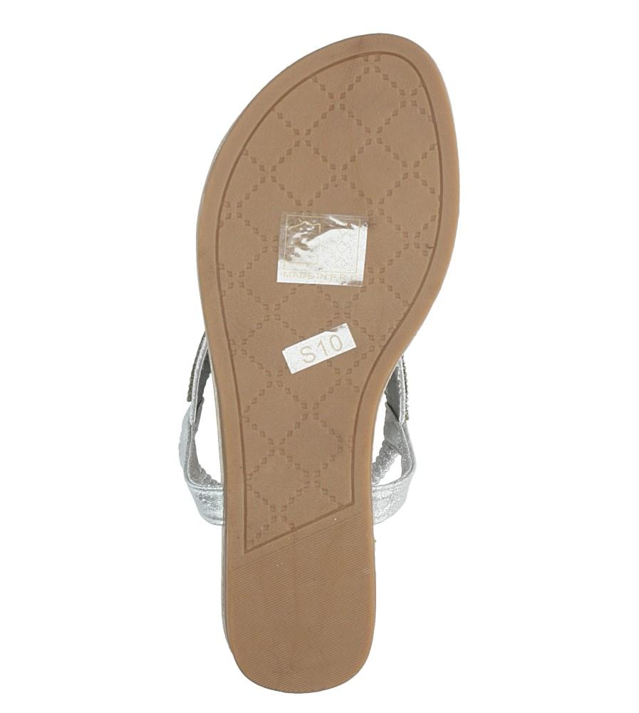 Srebrne sandały japonki płaskie z kryształkami Casu S10 wys_calkowita_buta 8.5 cm