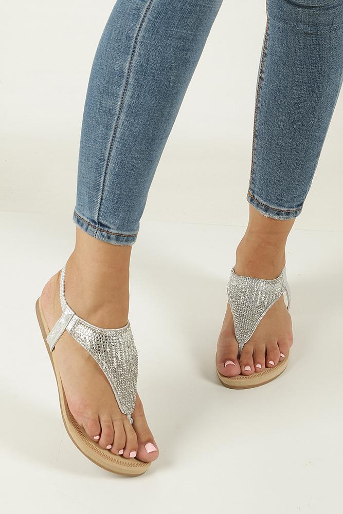 Srebrne sandały japonki płaskie z kryształkami Casu S10 wierzch skóra ekologiczna