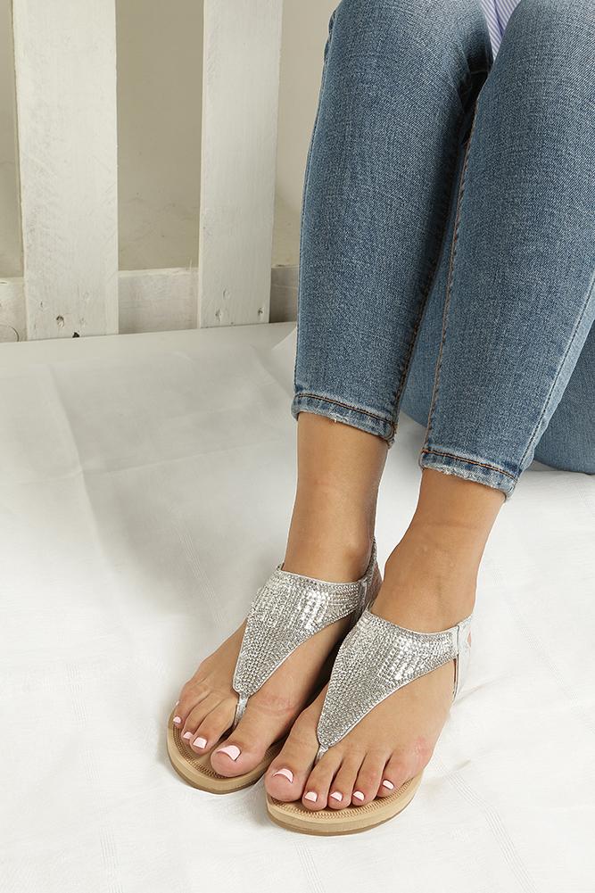 Srebrne sandały japonki płaskie z kryształkami Casu S10 wnetrze skóra ekologiczna