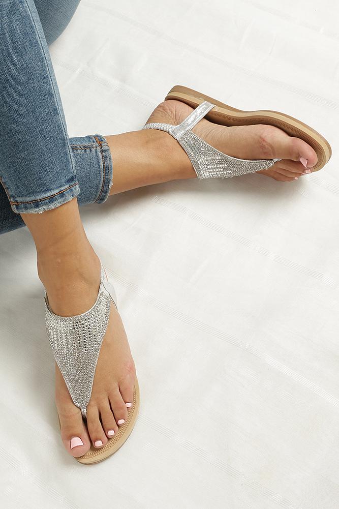 Srebrne sandały japonki płaskie z kryształkami Casu S10 wkladka skóra ekologiczna