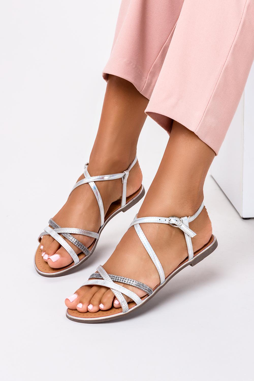 Srebrne sandały metaliczne płaskie Casu S19X5/S producent Casu