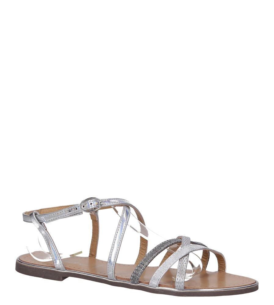 Srebrne sandały metaliczne płaskie Casu S19X5/S model S19X5/S