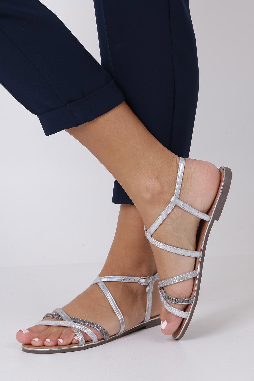 Srebrne sandały metaliczne płaskie Casu S19X5/S kolor srebrny