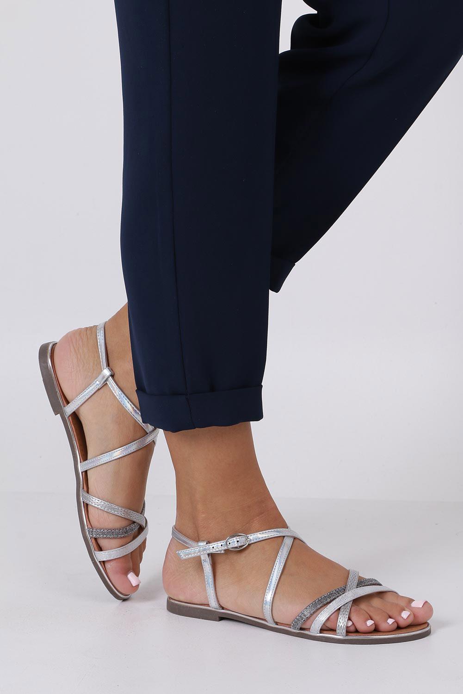Srebrne sandały metaliczne płaskie Casu S19X5/S wysokosc_obcasa 1 cm