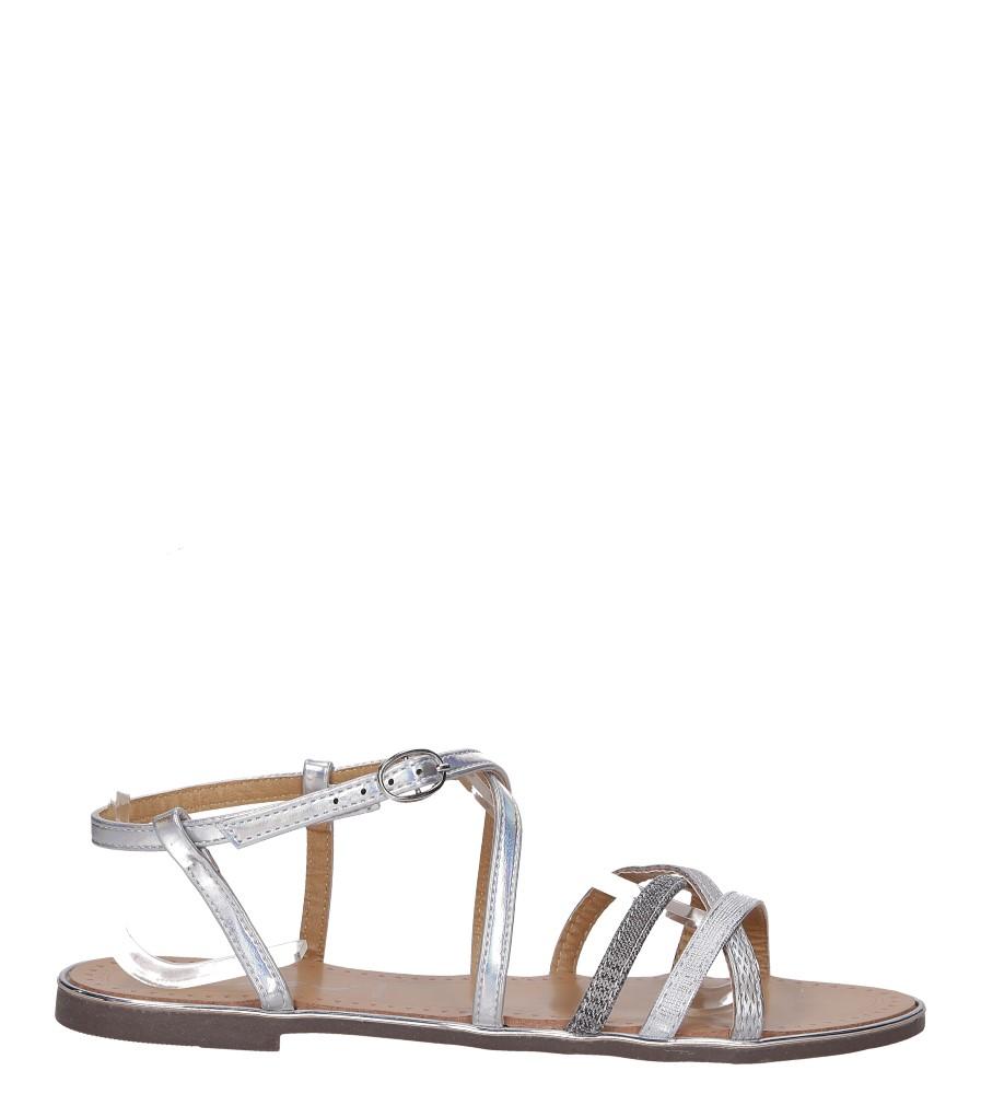 Srebrne sandały metaliczne płaskie Casu S19X5/S wysokosc_platformy 0.5 cm