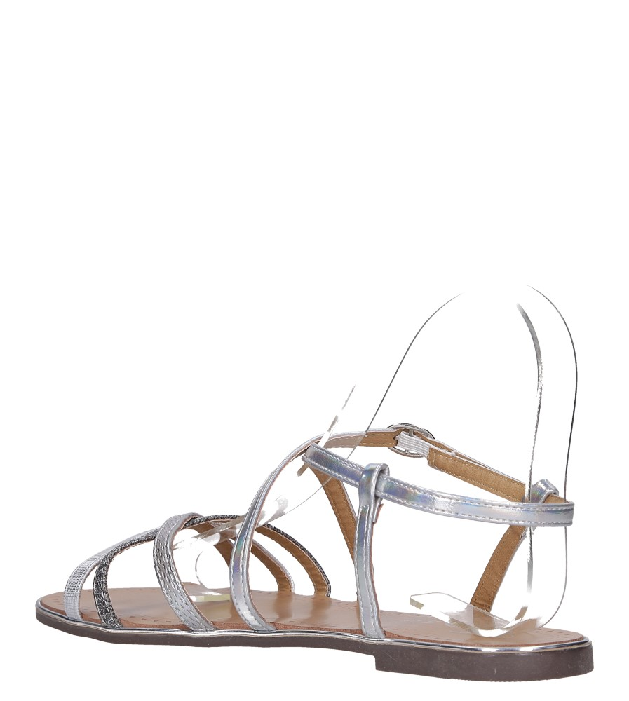 Srebrne sandały metaliczne płaskie Casu S19X5/S wys_calkowita_buta 7 cm